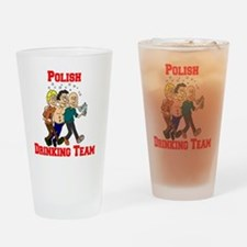 Polish Drinking Team Cartoon Shirt Drinking Glass