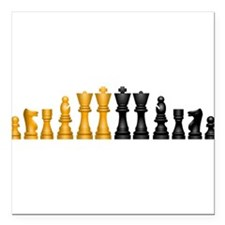 """Chess Pieces Square Car Magnet 3"""" x 3"""""""