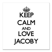 """Keep Calm and Love Jacoby Square Car Magnet 3"""" x 3"""