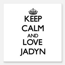 "Keep Calm and Love Jadyn Square Car Magnet 3"" x 3"""