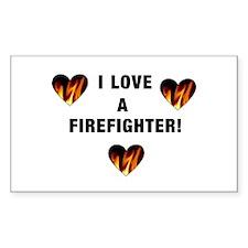I Love A Firefighter Sticker (Rectangular)