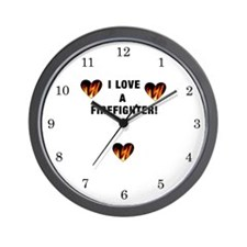 I Love A Firefighter Wall Clock