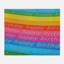 Happy Birthday rainbow of colors Throw Blanket