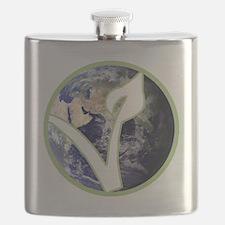 World is Vegan Logo Flask