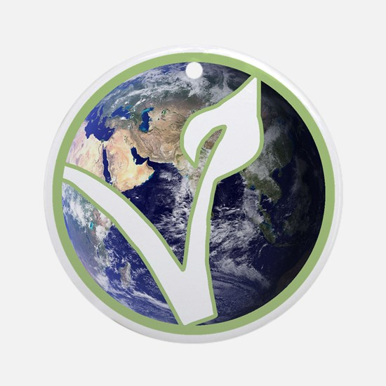 World is Vegan Logo Round Ornament