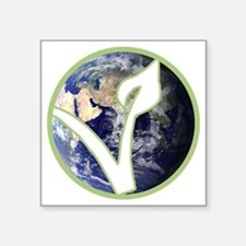 "World is Vegan Logo Square Sticker 3"" x 3"""
