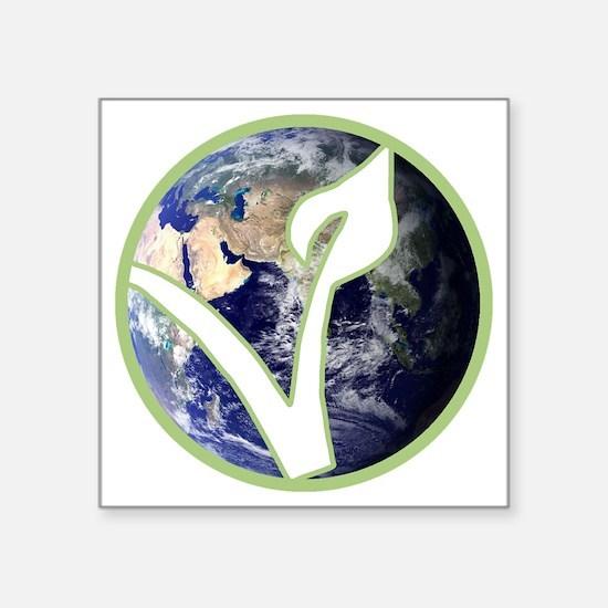 "World is Vegan Logo Square Sticker 3"" x 3"""
