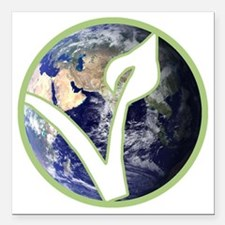 "World is Vegan Logo Square Car Magnet 3"" x 3"""
