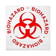 Red Biohazard Warning Queen Duvet