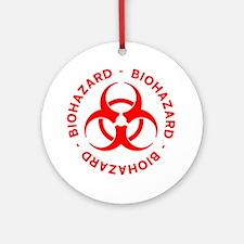 Red Biohazard Warning Round Ornament