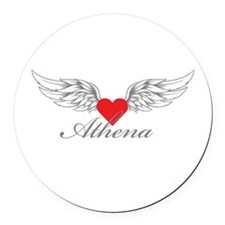 Angel Wings Athena Round Car Magnet