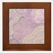 Lace panel (lilac) Framed Tile