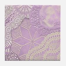 Lace panel (lilac) Tile Coaster