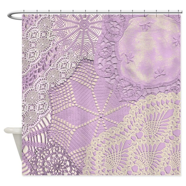 Lace Panel Lilac Shower Curtain By HZdesigns