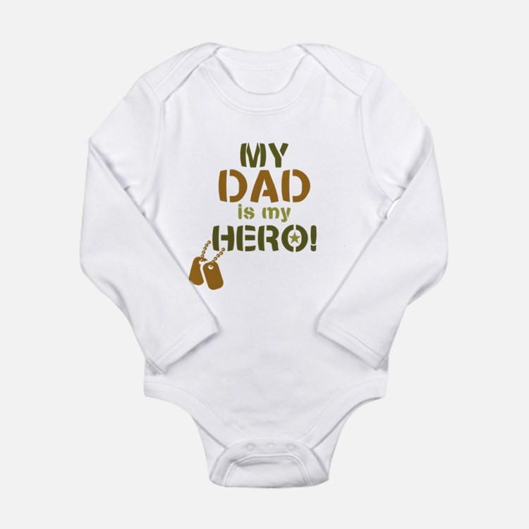 Dog Tag Hero Dad Long Sleeve Infant Bodysuit