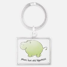 2-green_peace_love_hipponess Landscape Keychain