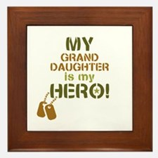 Dog Tag Hero Granddaughter Framed Tile