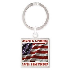 Create Change Volunteer American F Square Keychain