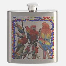 Macaw Mosaic Flask