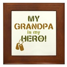 Dog Tag Hero Grandpa Framed Tile