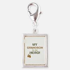 Dog Tag Hero Grandson Silver Portrait Charm
