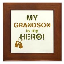 Dog Tag Hero Grandson Framed Tile
