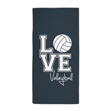 Love Volleyball, Charcoal Gray Beach Towel
