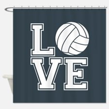 Love Volleyball, Charcoal Gray, square Shower Curt