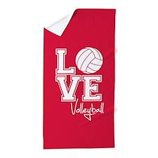 Love Volleyball, Crimson Red Beach Towel