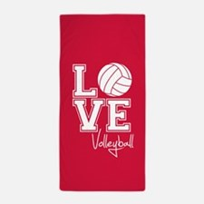 Love Volleyball, Crimson Red Beach Towel