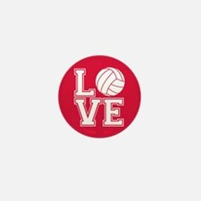 Love Volleyball, Crimson Red, round Mini Button