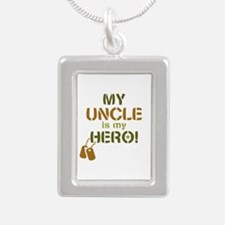 Dog Tag Hero Uncle Silver Portrait Necklace