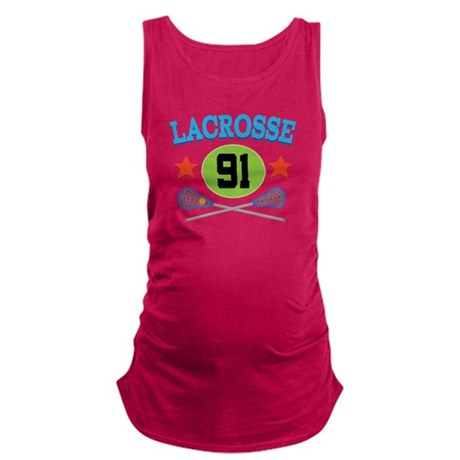 Lacrosse Player Number 91 Maternity Tank Top