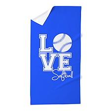 Love Softball, Royal Blue Beach Towel