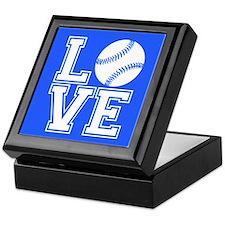 Love Softball, Royal Blue, square Keepsake Box
