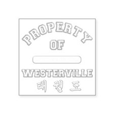 "Property Of WTKDClub - Grey Square Sticker 3"" x 3"""