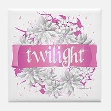 twilight pink wreath 2 copy Tile Coaster