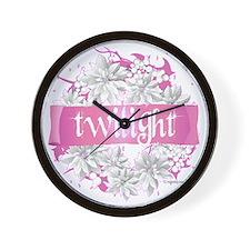 twilight pink wreath 2 copy Wall Clock