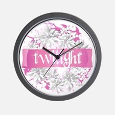 twilight pink wreath 2 copy Wall Clock