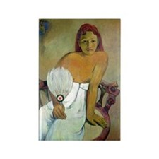 Paul Gaugin Girl With Fan Rectangle Magnet