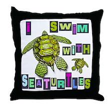I SWIM WITH SEA TURTLES Throw Pillow