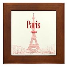 EiffelTower_10x10_apparel_RedOutline Framed Tile