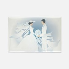 Wedding Couple in Blue Rectangle Magnet