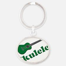Green Ukulele Oval Keychain