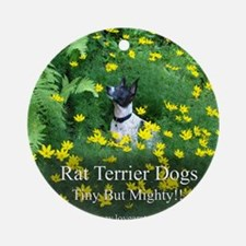 rat_terrier_flowers Round Ornament