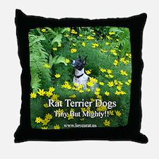 rat_terrier_flowers Throw Pillow