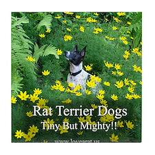 rat_terrier_flowers Tile Coaster