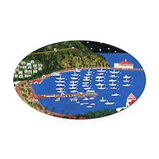 Across the Sea Oval Car Magnet