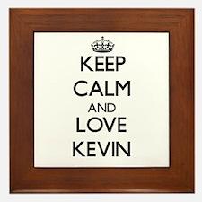 Keep Calm and Love Kevin Framed Tile