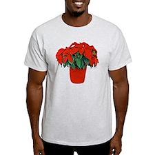 Poinsettia Christmas Stocking T-Shirt